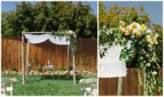 A simple, beautiful #outdoorsy #chuppah set on wooden posts with white draping and orange and peach #flowers. Modern Jewish Wedding in San Luis Obispo, CA. From Modern Jewish Wedding Blog. Photo by Marcella Treybig Photography.
