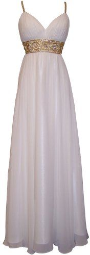 Greek Goddess Chiffon Starburst Beaded Full Length Gown