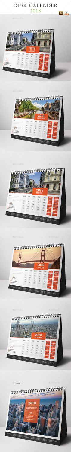 Desk Calendar 2018 Template Vector EPS, AI Illustrator