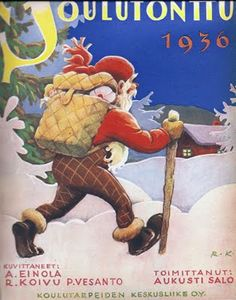 *Rudolf Koivu (1890-1946): Joulutonttu cover, 1936* Norwegian Christmas, Old Christmas, Merry Christmas And Happy New Year, Father Christmas, Christmas Images, Scandinavian Christmas, Christmas Cards, Xmas, Moomin