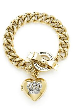 Juicy Couture Crown Icons Heart Locket Bracelet