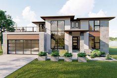 Plan 62749DJ: 4 Bed Modern Prairie Style House Plan With Massive Balcony Over Garage