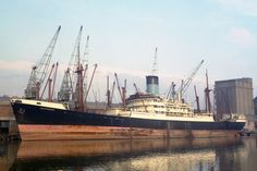 AGAPENOR built in 1947 is shown here in Avonmouth docks photographed by the late R.M.Parsons. She and the Melampus were trapped in the Suez Canal 1967-1974. She was abandoned to the underwriters. Upon her release in 1975 she was purchased by Grecomar and renamed NIKOS. She arrived in Gadani Beach, Pakistan, on 27.12.81 to be broken up. Age 34.