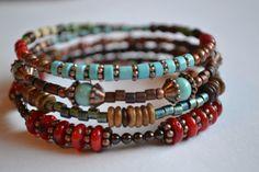 Southwestern Memory Wire Bracelet by IvysPebbles on Etsy, $38.00