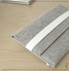 SILVER wool felt sleeve for your 11'' Macbook AIR