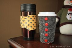 Make adorable coffee cozies from a neck tie and a sweater! So easy and so cute!