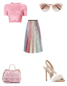 """gucci pleated skirt"" by bethanyyk on Polyvore featuring Gucci, T By Alexander Wang, Dolce&Gabbana and Olgana"