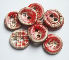 A Mix of Red Ceramic Buttons by buttonalia on Etsy, $18.00