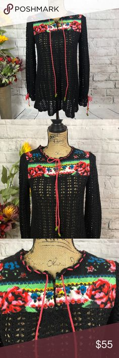 "Free People Crochet Tunic BOHO Floral Sweater Free People Crochet Tunic BOHO Floral Sweater Super Cute. Tie Sleeves. Quilted floral detail.   Pre-loved in excellent condition  Pit to pit approx. 19"" Length approx. 28""  Thank you for checking out our closet. Please feel free to bundle and save! Free People Sweaters"