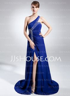 Mother of the Bride Dresses - $158.99 - A-Line/Princess One-Shoulder Sweep Train Chiffon Mother of the Bride Dress With Beading (008015817) http://jjshouse.com/A-Line-Princess-One-Shoulder-Sweep-Train-Chiffon-Mother-Of-The-Bride-Dress-With-Beading-008015817-g15817