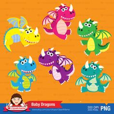 Baby Dragons Digital Clipart by ClipartMama on Etsy
