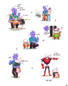 I love this, underfell grillby taking underfell sans shopping. Papyrus get out of here u jerk. By yoo on tumblr
