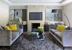 A legszebb nappali összeállítások sárga és szürke színben