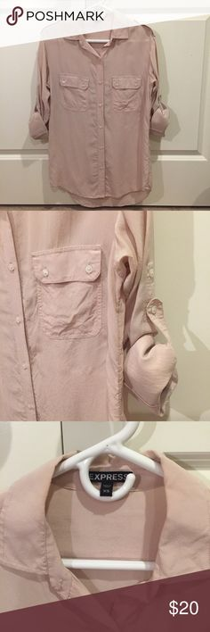 Blush Pink Utility Top Beautiful button up, shear top. Pairs great with leggings and boots. I am 5'8 and the length covers my rear. Buttons to hold sleeves up or can keep them down. Only worn a couple times! Express Tops Blouses