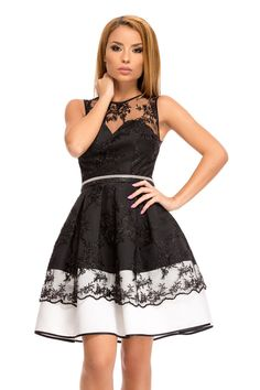 Rochie Alana Bicolora - Rochie eleganta tip baby-doll accesorizata cu dantela… Autumn, Formal Dresses, Womens Fashion, Black, Vestidos, Black People, Fall, Formal Gowns, Women's Fashion