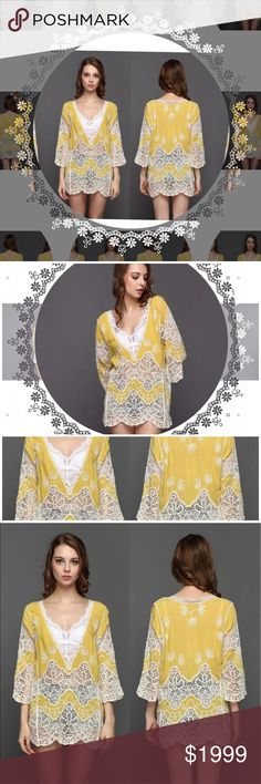 Sz S-M YELLOW BOHO Lace Kaftan A Cover up for your Bikini  or wear as a dress .  A Classic  Bohemian Style Hollow out Flower Pattern.  Beautiful a crotchet Material🚨PLEASE ORDER A SIZE UP🚨 @roedarryl Swim Coverups