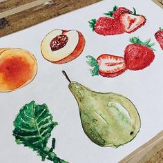 🍐Food illustration in progress. I just love it! You can get a copy and see more soon.) 🍓 .#foodillustration #foodillustrator #foodart #foodie #foodgasm #cooking #cook #illustration #art #vegan #strawberry #slovakartist #vegetarian #artist #foodpainting #foodblog #foodblogger #lovefood #delicious #yummy #bratislavafood #food #fruit #vegetable #jedlo #salat #smoothie #greensmoothie #pear #peach Food Illustrations, Illustration Art, Food Painting, Food Drawing, Just Love, Food Art, Love Food, Pear, Strawberry