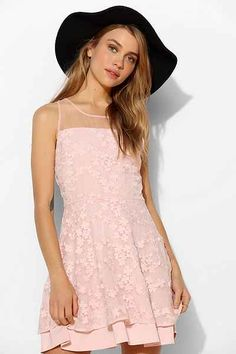 JOA Blossom Embroidered Organza Fit + Flare Dress - Urban Outfitters