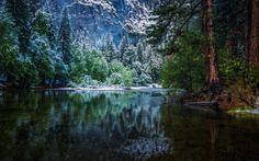 Nature paysage, hiver, forêt, parc national, rivière Fonds d'écran - 1920x1200