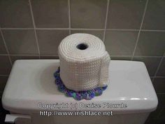 Free Crochet Toilet Paper cover pattern found at Ravelry from http://www.irishlace.net/crochet/toiletpaperroll.html