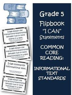 """Fifth Grade Math Common Core Reading Informational Text """"I Can"""" statement cards for each standard. $"""