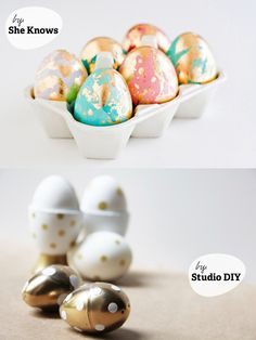 Eggs + Gold = Genius // I'm celebrating my love of metallic on the blog today. Check it out: http://www.inspiredbycharm.com/2013/03/eggs-gold-genius.html#