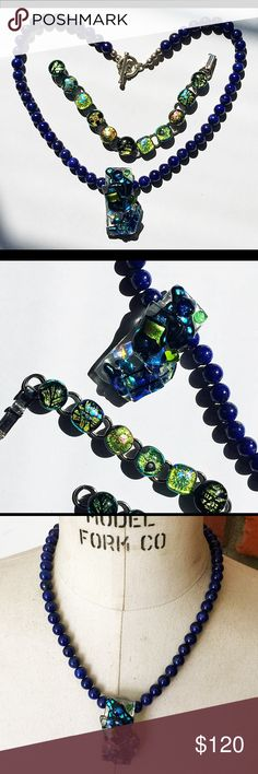 """Artisan Dichroic Art Glass Lapis Beaded Necklace Beautiful, vibrant and bold vintage sterling silver necklace with blue lapis beads and colorful dichroic pendant -  Unique and standout artisan crafted necklace and pendant - Necklace about 18"""" long with a sterling silver toggle clasp closure - Very good pre-owned vintage condition with a flaw on the back that doesn't show at all when worn - Free Gift is a beautiful vibrant vintage silver tone dichroic link bracelet; 7-1/4"""" long and very good…"""