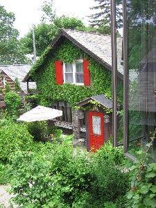 ann arbor -Big Haus room view of Gazebo Garden, in its summer foliage.