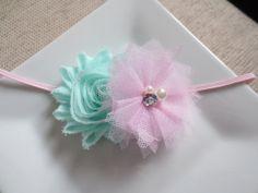 pink and mint green baby headband pink headband by hartsandflowers, $4.75
