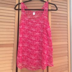 Old Navy gauzy pink print tank top Gauzy pink printed thank top from old navy Old Navy Tops Tank Tops