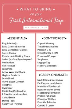 If you're planning your first international trip, then you're probably wondering what to bring on vacation? Use this handy packing list to plan your first international vacation. Travel Packing Checklist, Printable Packing List, Packing For Europe, Packing Tips, Travel Essentials, Traveling Tips, Vacation Packing, Traveling Abroad Checklist, Id Travel
