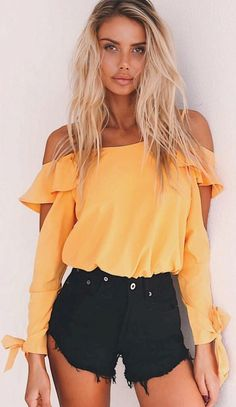 #Summer #Outfits / Off the Shoulder Yellow Top + Black Ripped Shorts