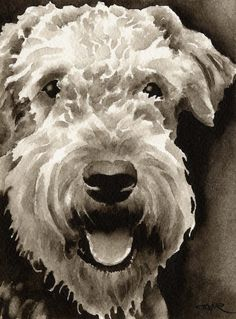 AIREDALE TERRIER Dog Art Sepia Print Signed by by k9artgallery