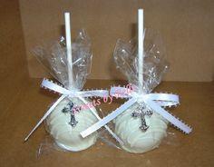 cake pops - cute 1st Communion party favor for J