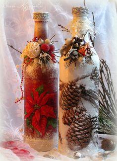 Новогодний декупаж и декор бутылок