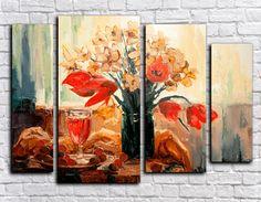 Купить модульную картину цветы и вино (ручная обработка) + подарок