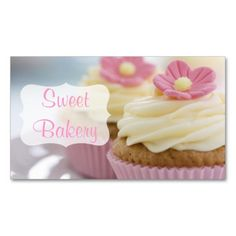 Pink Daisy Cupcake Bakery Double-Sided Standard Business Cards (Pack Of 100). Make your own business card with this great design. All you need is to add your info to this template. Click the image to try it out!