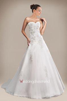 Cheap Glamorous Appliqued Sweetheart A-line Chapel Train Wedding Dress - the Best Wedding Dresses Online Wholesaler and Retailer