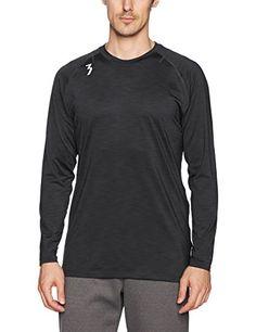 361 Degree Sports Apparel Mens Qu!K Heather Mesh Long sleeve Shirt, Heather Black, Medium