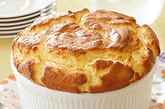 Easiest Soufflé Ever: Corn, cream cheese, cheddar, green onion souffle.