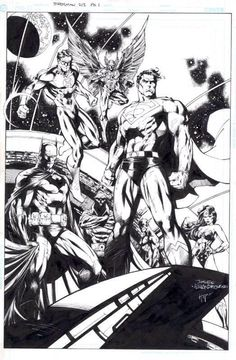 Justice League by Jim Lee Comic Book Artists, Comic Artist, Comic Books Art, Dc Comics Superheroes, Dc Comics Characters, Marvel Dc, Comic Link, Justice League Characters, Poster
