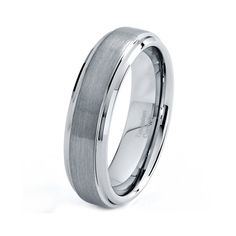 Mens Tungsten Carbide Wedding Band Ring 6mm Stepped by GiftFlavors, $44.77