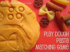Playdough Pasta Matching Game! Includes the no cook play dough recipe!