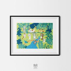 CATS IN JUNGLE  art print A4 poster cat animal wall print