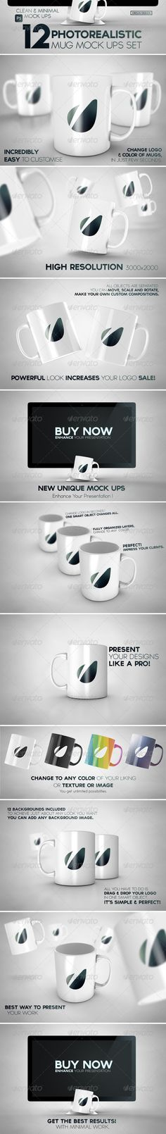 12 Photorealistic Mug Mockups Set - Logo Product Mock-Ups