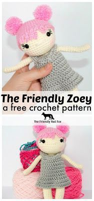 Free Crochet Doll Pattern- The Friendly Zoey. At just under nine inches with a petite little frame, this doll works up SUPER quick! Perfect for last minute gifts!
