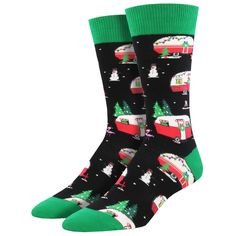 e1612b496e5 Purple Leopard Boutique - Men s Crew Socks Holiday Christmas Campers Travel  Trailers Black