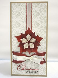 Christmas Wishes Card - beautiful! LOVE THE Pointsettia and the two tones of ribbon tied together.