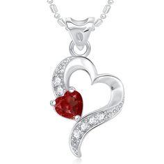 CZ Fashion Jewelry Dazzling Heart Valentine Rhodium Plated Pendant Chain 1D