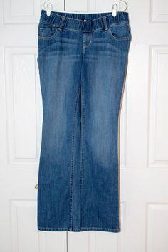 83b4b8880976e Old Navy Maternity Low Panel Medium Wash Boot Cut Blue Jeans 8 Long  #fashion #